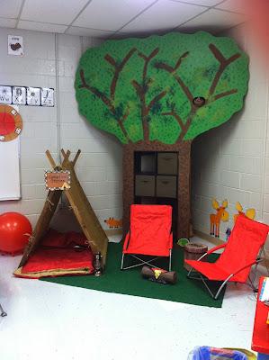 http://mcdonaldgrade4.blogspot.ca/2013/10/camping-themed-classroom.html