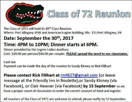 9-30 Class of '72 Reunion