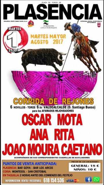 PLASENCIA (ESPAÑA) 01-08-2017. CORRIDA DE REJONES