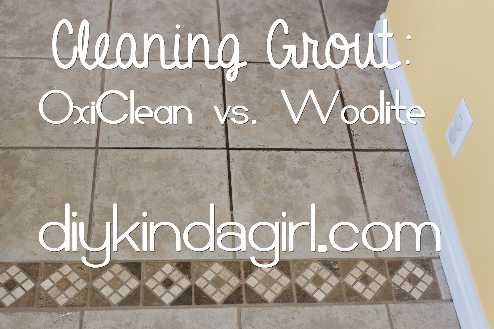 How to clean floor tile grout with oxiclean how to clean floor tile grout with oxiclean diy kinda girl diy household tip cleaning grout oxiclean vs dailygadgetfo Gallery