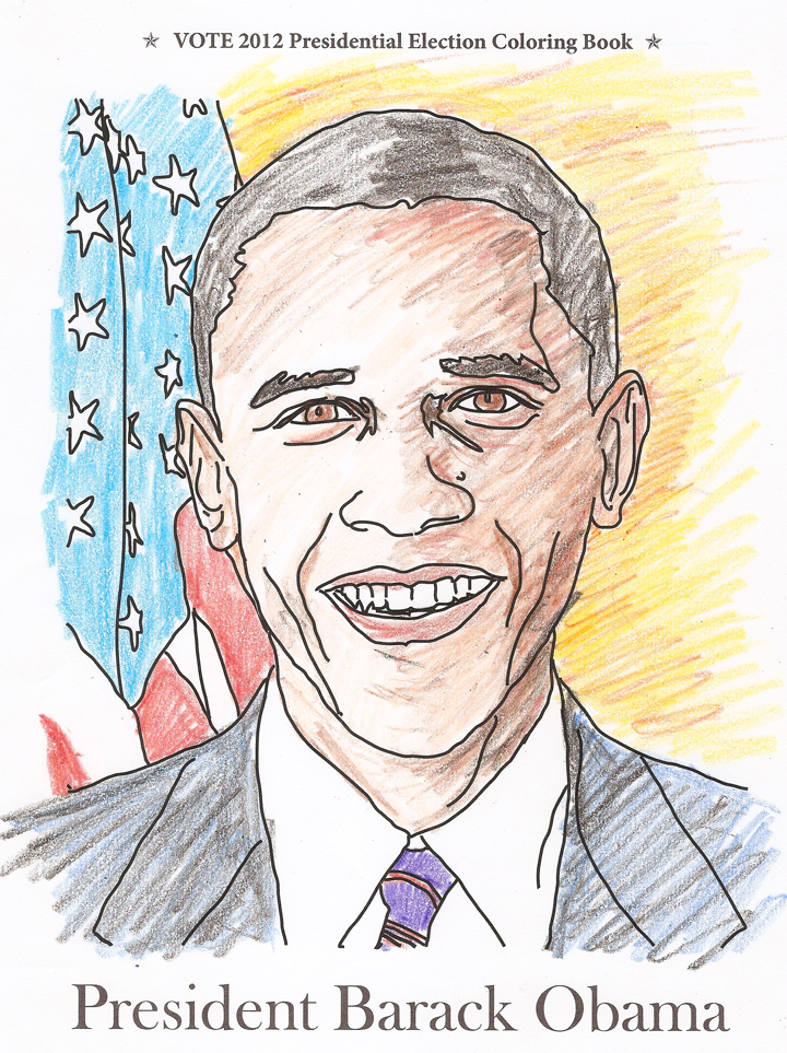 President Barack Obama Coloring Page From Vote 2012