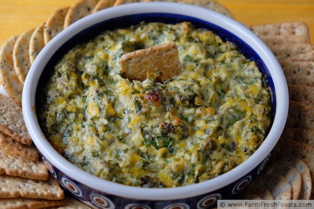 http://www.farmfreshfeasts.com/2015/01/baked-artichoke-and-arugula-dip.html