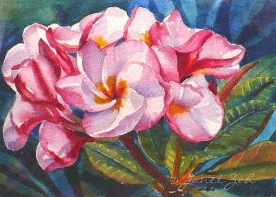 Pink Plumeria tropical floral painting in watercolor