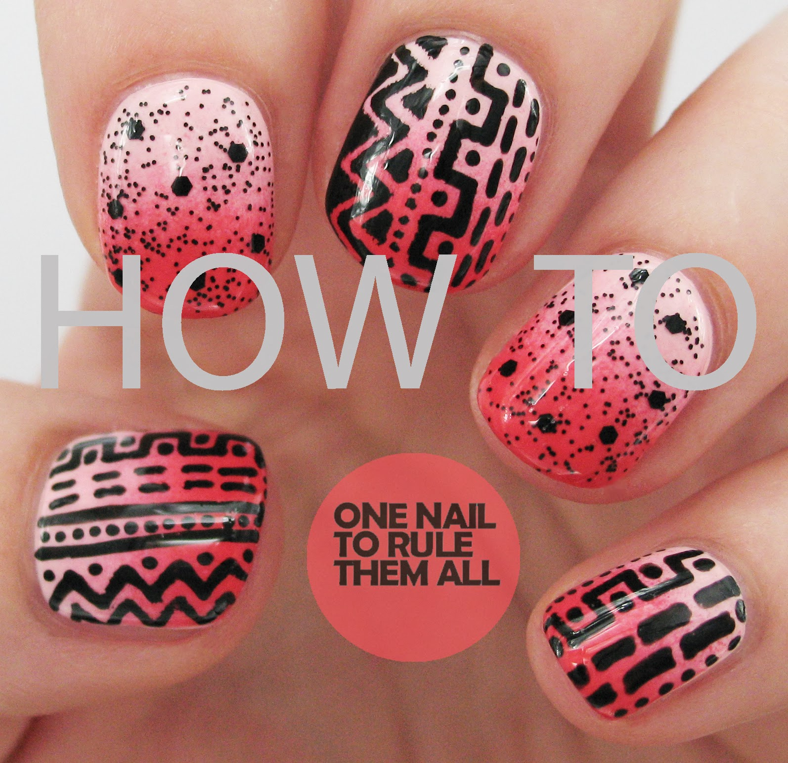 One Nail To Rule Them All: Tutorial Tuesday: Pink Tribal