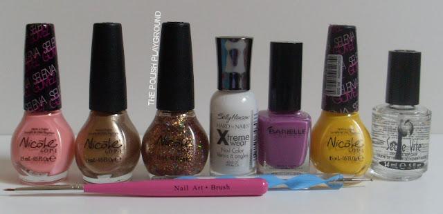 Nicole by OPI, Sally Hansen, Barielle, Seche Vite, nail art stripper brush, dotting tool