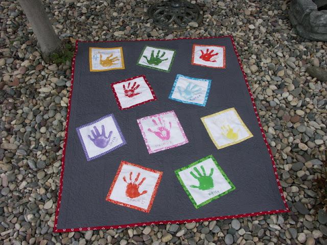 hand print quilt, wonky blocks