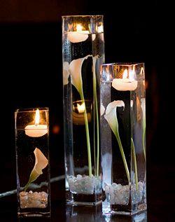 Decoracion con Flores Sumergidas Blancas, Centros de Mesa, parte 1