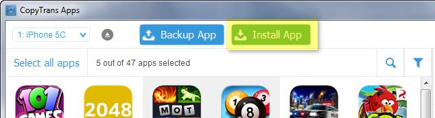 install apps button on main program window