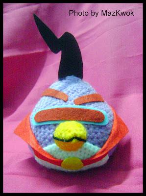 Crochet purple triangle angry bird