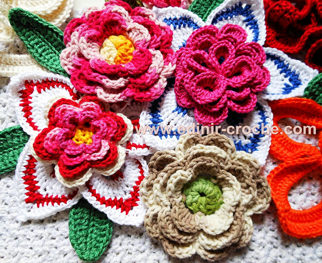 flores em croche da coleção aprendi e ensinei com edinir-croche primavera 2013