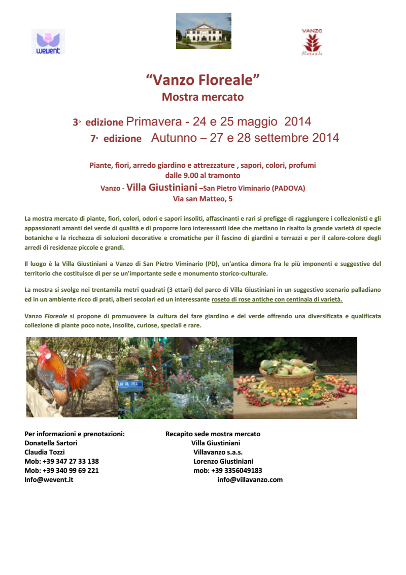 Vanzo Floreale Mostra mercato 3° edizione di Primavera: 24 - 25 maggio 2014