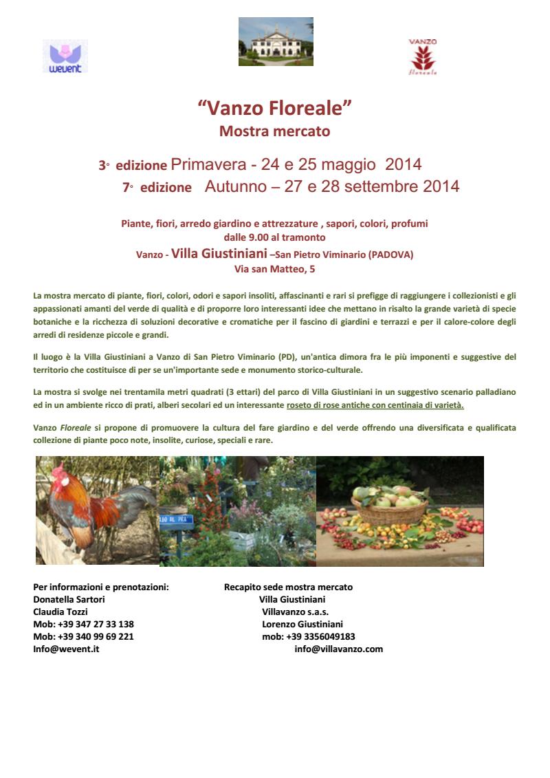 Vanzo Floreale Mostra mercato 3° edizione di Primavera: 24 - 25 maggio 2014