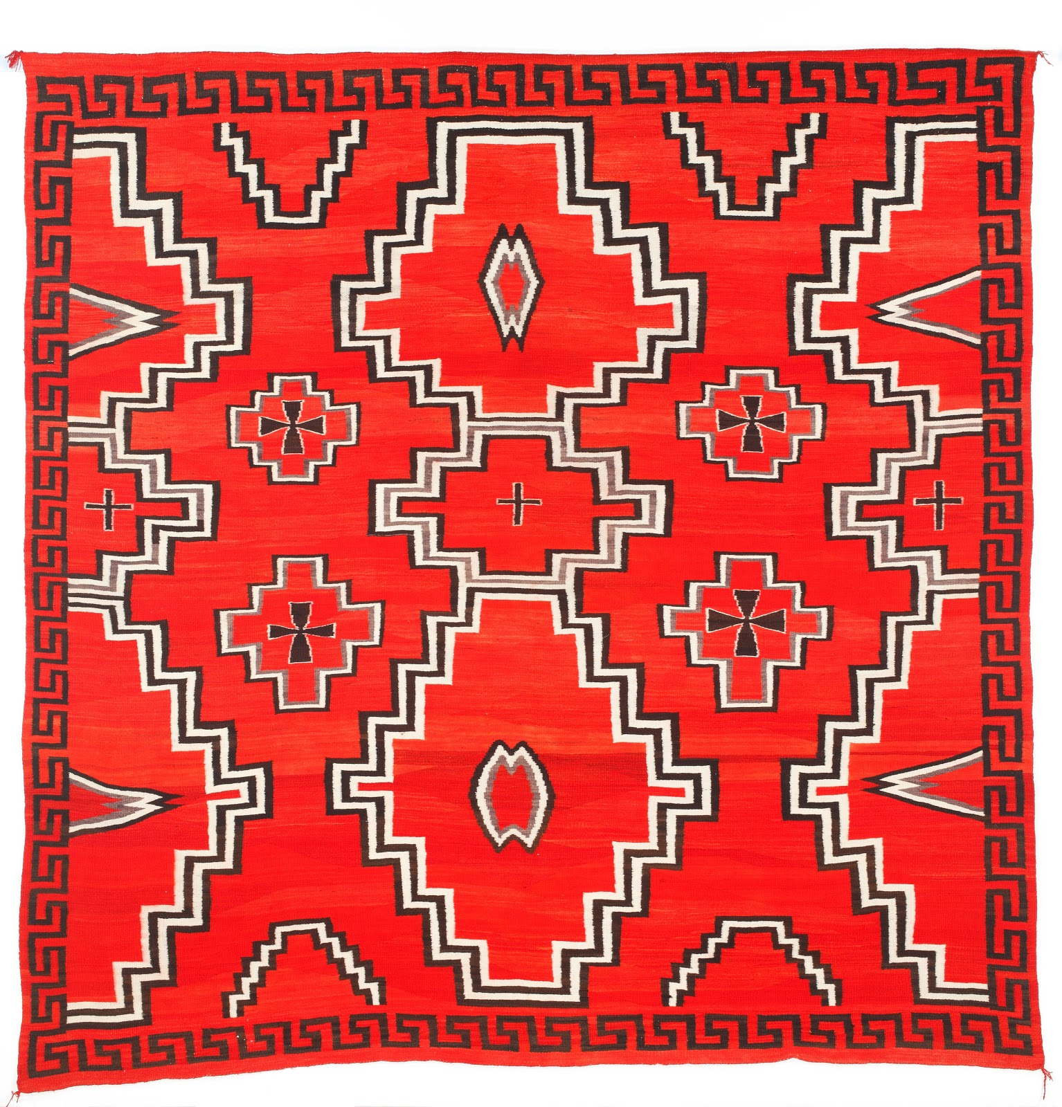 Navajo Early Ganado Rug Circa 1900 Handspun Natural Wool And Synthetic Dyes Gift Of The George Montgomery Trust