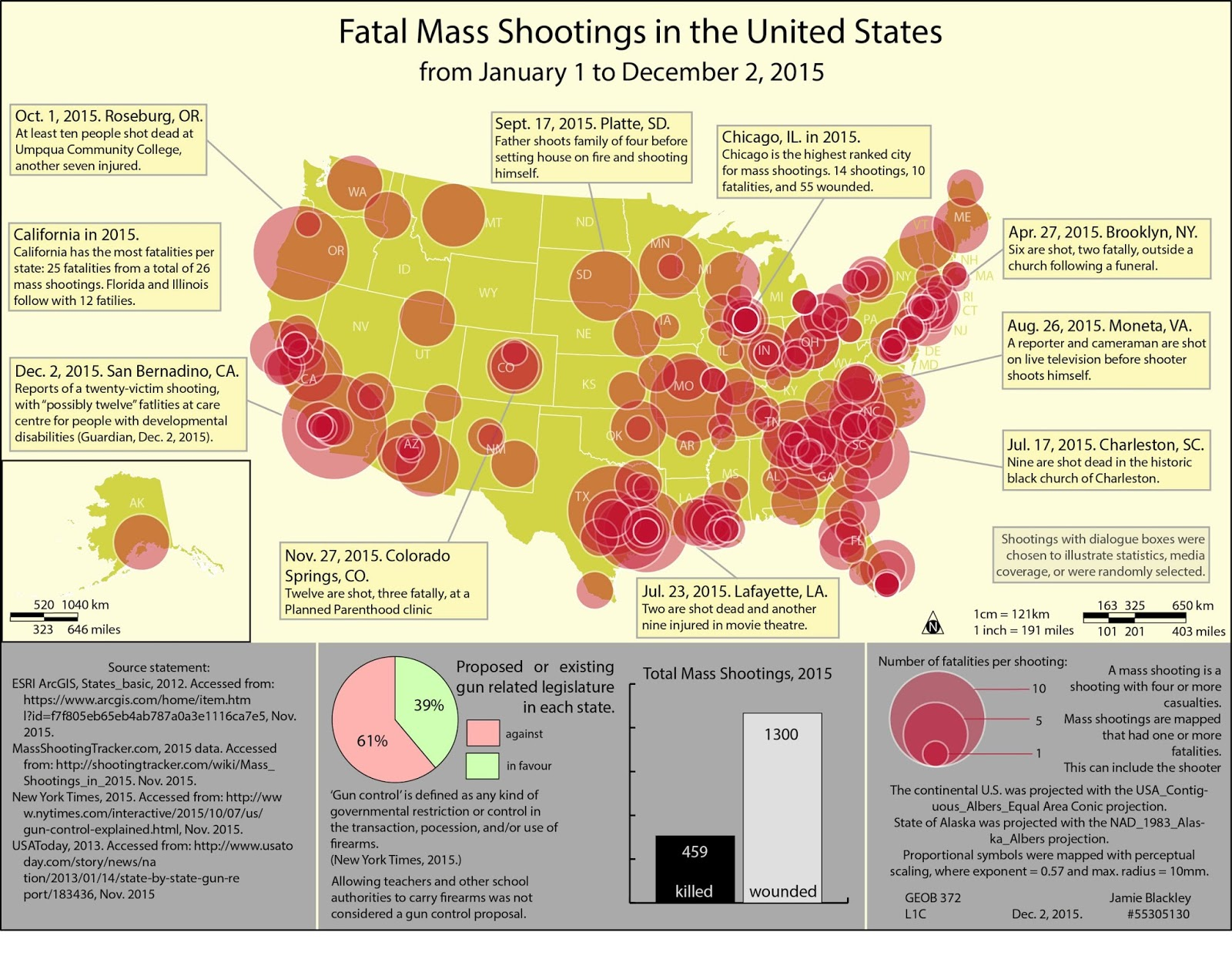 Fatal mass shooting in the U.S. from January 1 to December 2, 2015