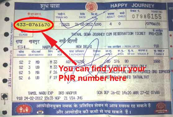 pnr number on counter ticket