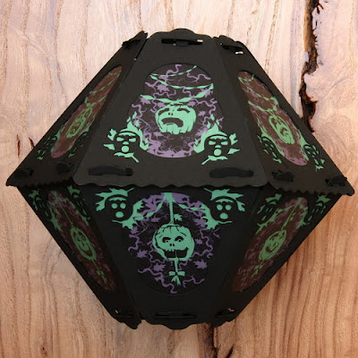 Hanging paper lantern by Bindlegrim features purple and green pumpkin and vine motif for Halloween 2012