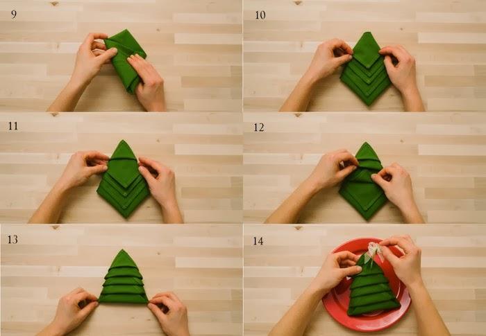 servilletas con forma de rbol de navidad