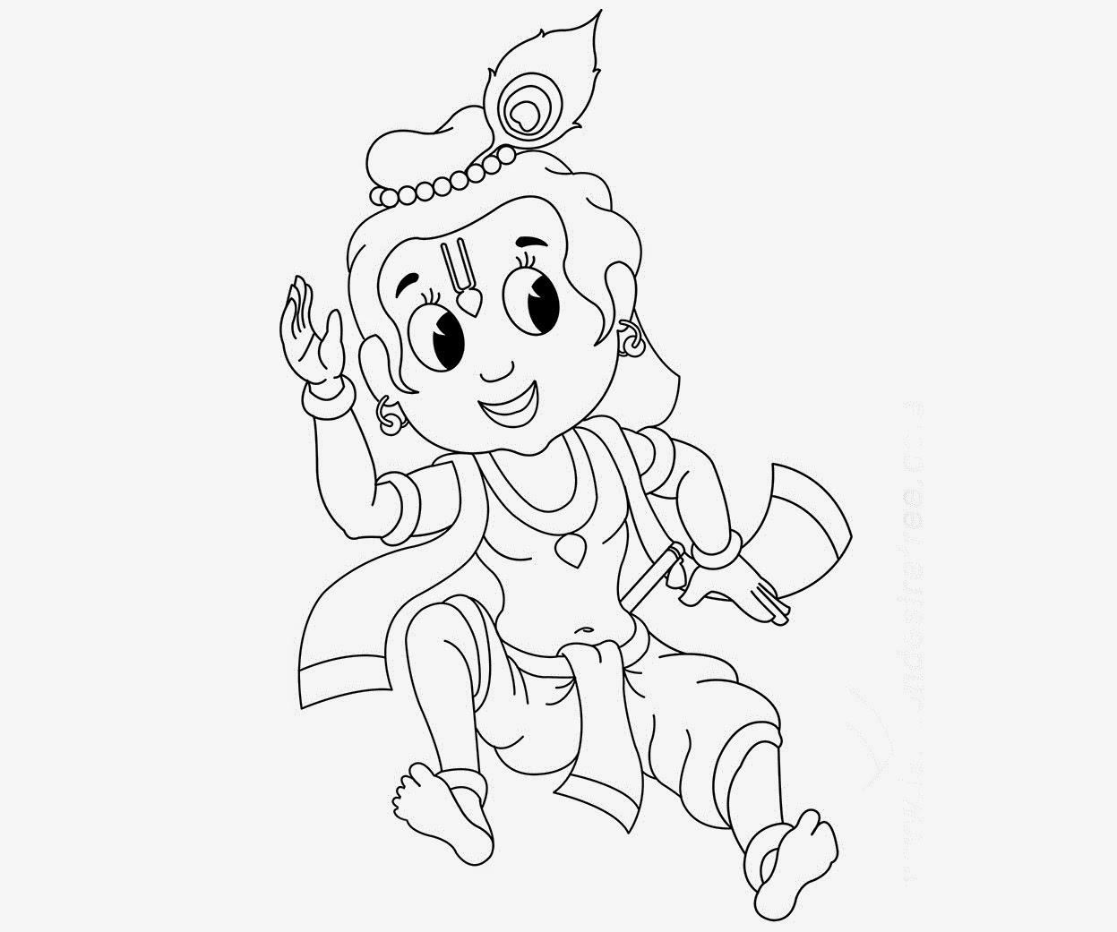 little krishna coloring drawing free wallpaper anggela