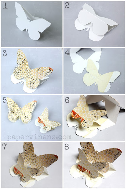 Step by Step to Make a 3D Butterfly Card. Template Included. Oh