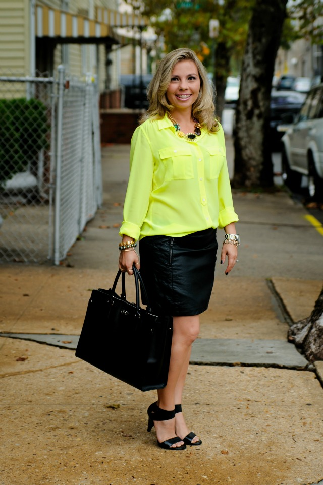 J Crew Blythe Blouse in Silk, Forever 21 Quilted Panel Skirt, Banana Republic Mixed Pop Stone Necklace, Salvatore Ferragamo Briana purse, Michael Kors two tone medal watch