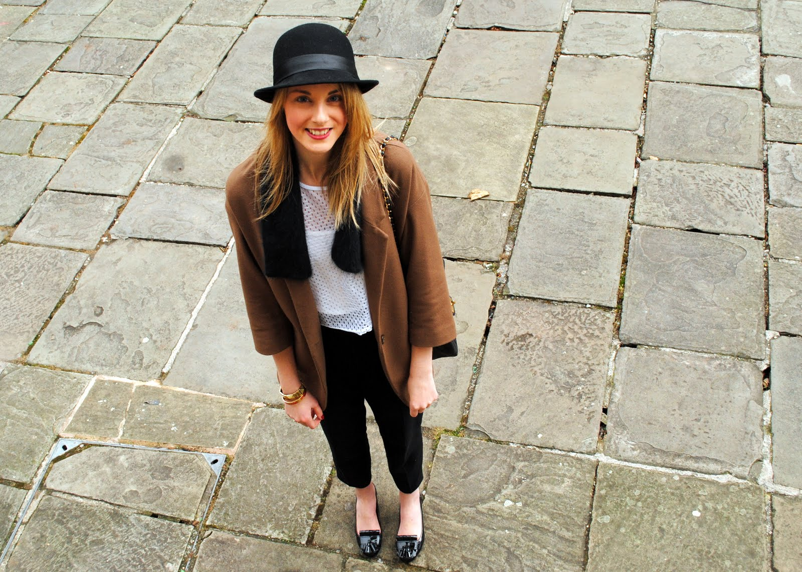 black bowler hat cos scarf