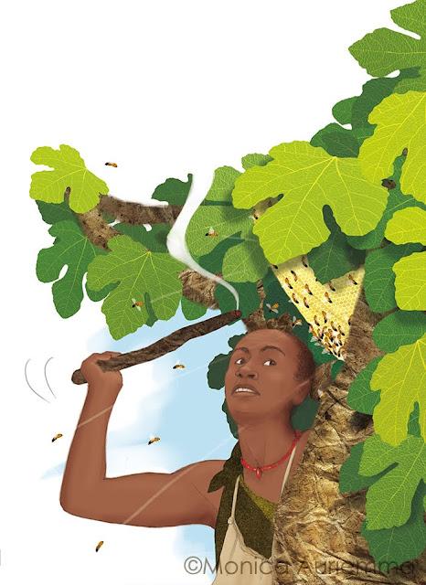 cacciatore-honey-favo-api-foglie-albero-illustration