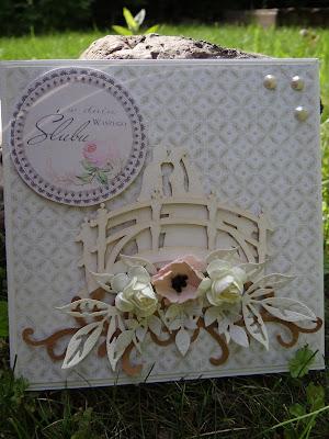 pamiątka ślubna ręcznie robiona, kartka w pudełku