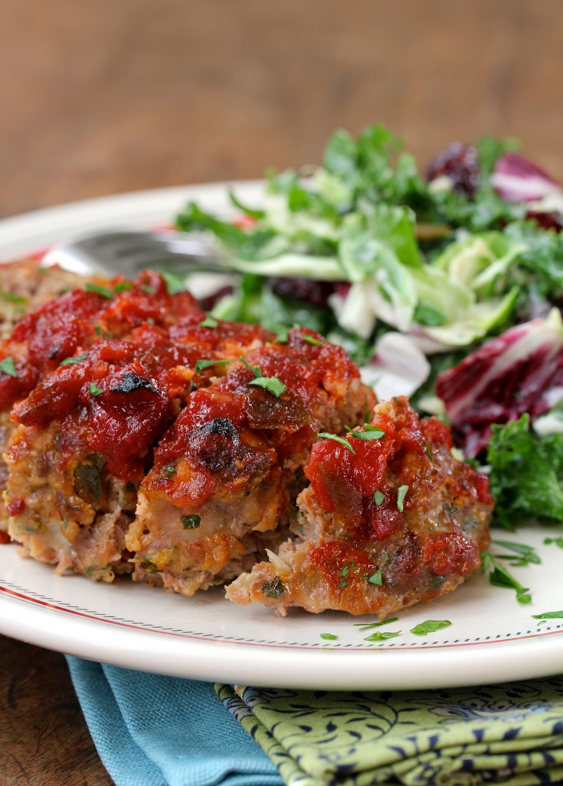 Individual Meatloaves with Chili Sauce from Karen's Kitchen Stories