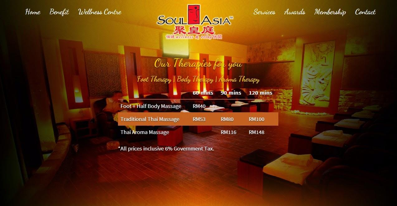 Soul Asia massage price list