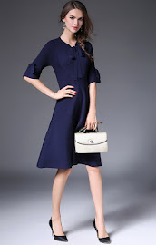 New 2016 Dark Blue Flare Half Sleeve Flare Knit Dress