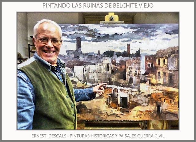 BELCHITE-PINTURA-PAISAJES-RUINAS-PUEBLOS-GUERRA CIVIL-ESPAÑA-PINTURAS-HISTORICAS-ARTISTA-PINTOR-ERNEST DESCALS-