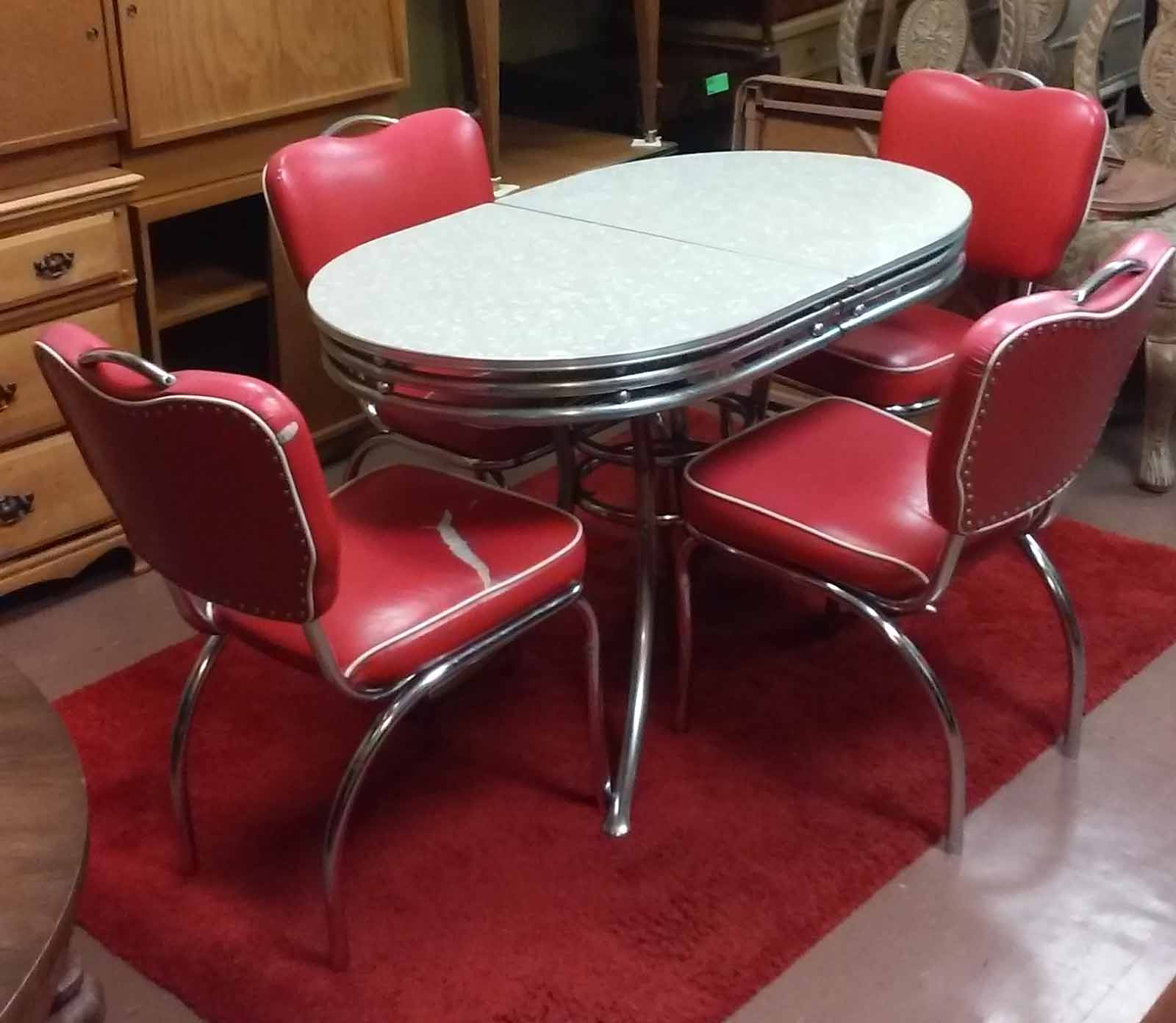 Charmant SOLD 50u0027s Style Chrome Table With Leaf And 4 Red Chairs   $175