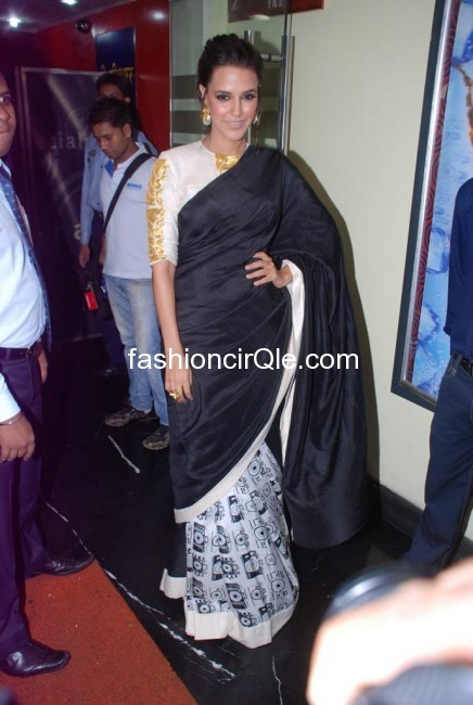 This sari is definitely a desinger piece - (6) -  Neha Dhupia at Maximum Film Music launch