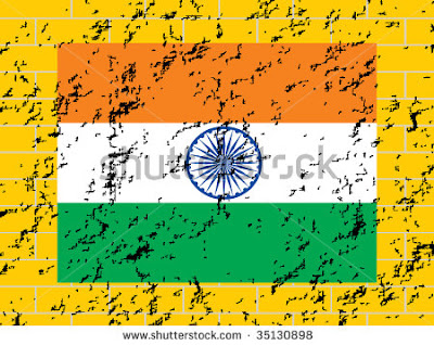 stock vector yellow wall background with grungy indian national flag