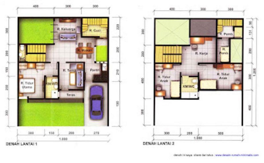 rancangan denah rumah minimalis 2 lantai tipe 45 terbaru