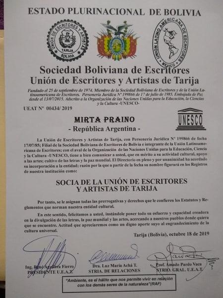 Mirta Praino en Merito a su actividad Cultural, apoyo a las Artes, Cultivo de las Letras, y La Paz