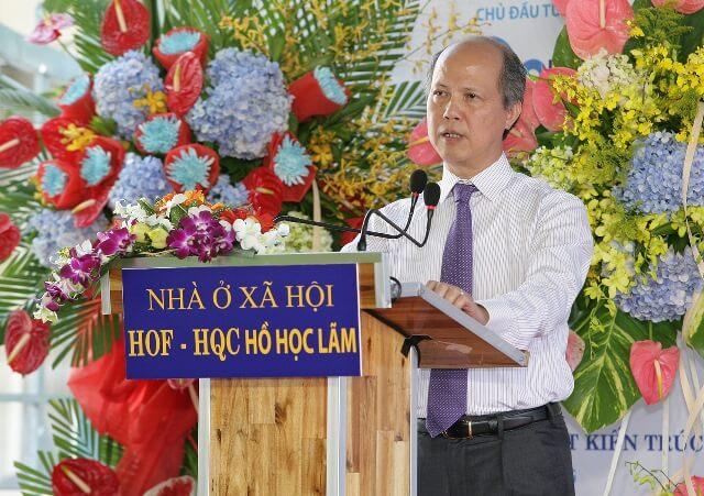 Ông Nguyễn Trần Nam - Nguyên Thứ trưởng Bộ Xây dựng - Chủ tịch Hiệp hội BĐS Việt Nam phát biểu tại buổi lễ