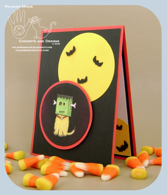 Image of the front of my handmade Frankenstein Dog Halloween card sitting at a left angle