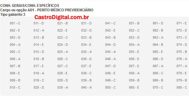 IMAGEM - Gabarito oficial do concurso do INSS 2011/2012 - Cargo Perito Médico Previdenciário - Tipo 03