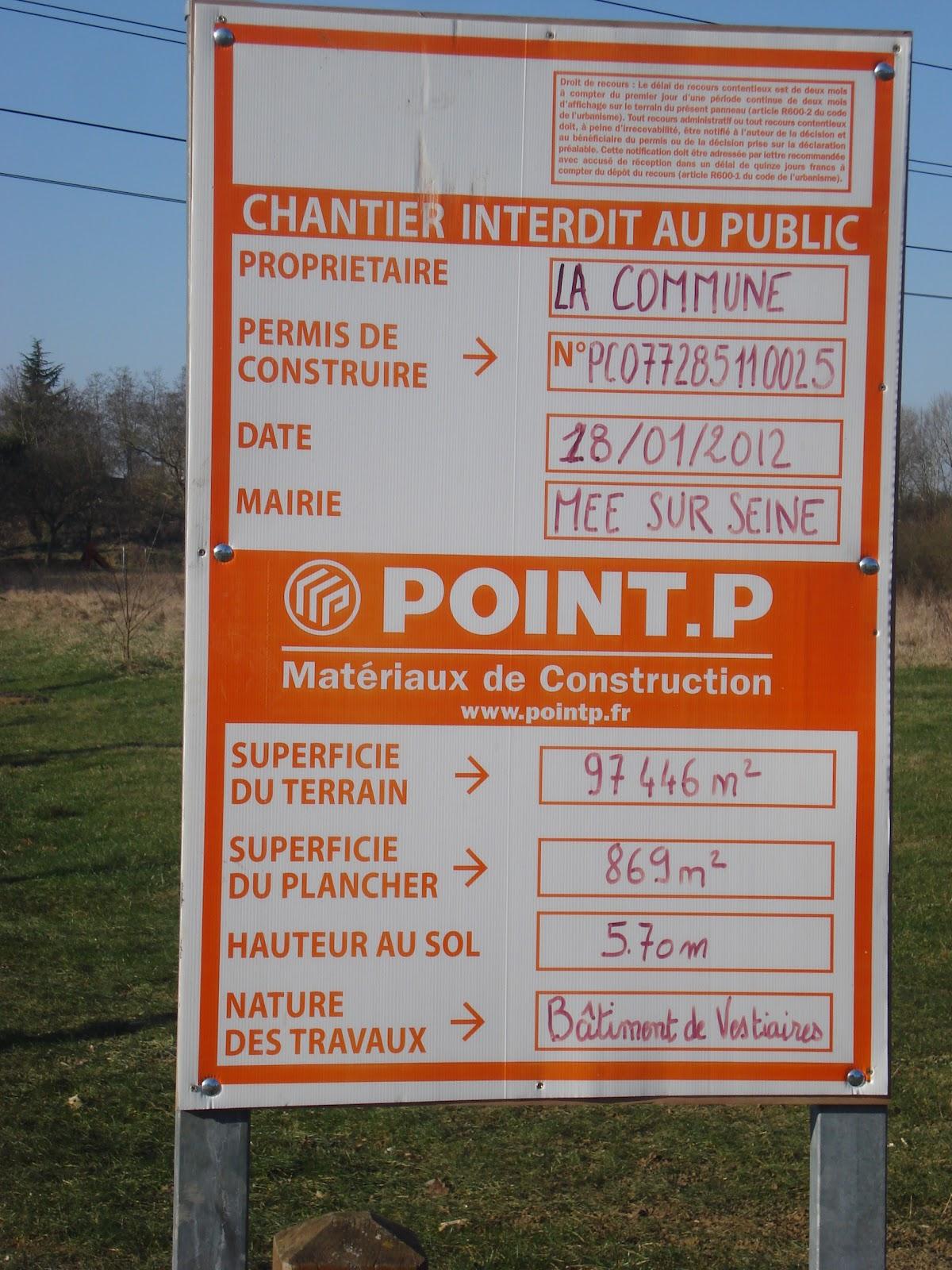 Panneau de d claration des travaux pour les terrains for Quelle surface pour un permis de construire
