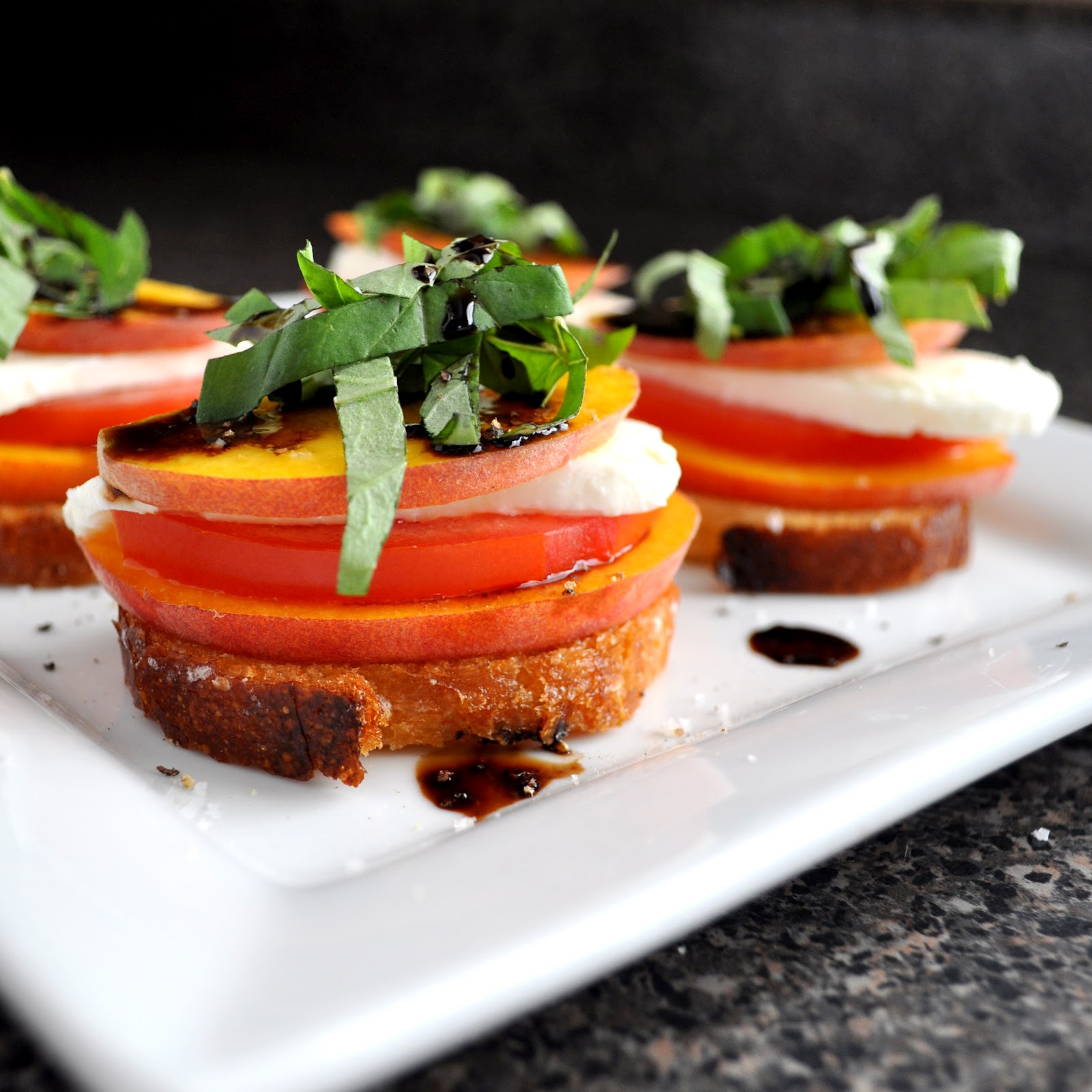 BREANNA'S RECIPE BOX: Peach Tomato and Mozzarella Crostini