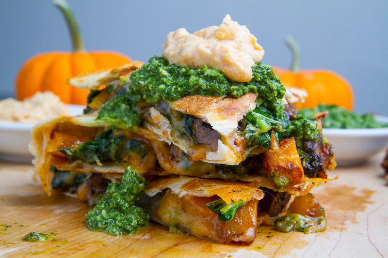 Chipotle Roasted Pumpkin, Mushroom and Kale Quesadillas with Chipotle Pumpkin Crema and Kale Salsa
