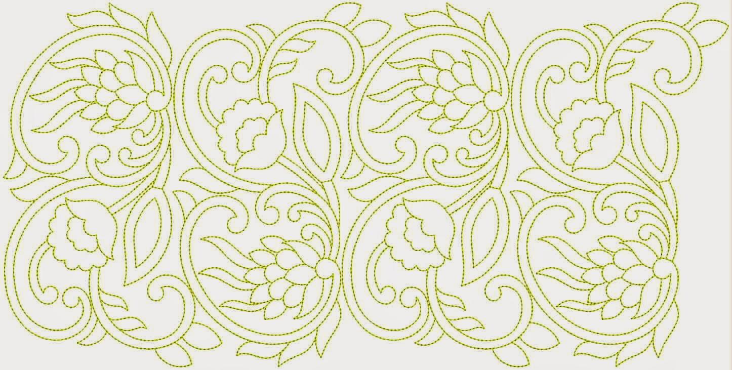 Gratis digitale borduurwerk kant grens