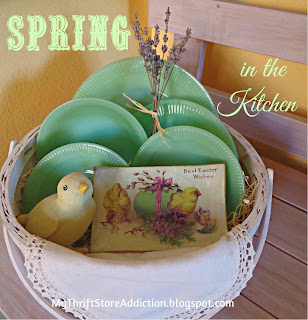 Spring in the Kitchen Happy Green Easter / vintage jadeite collection / mythriftstoreaddiction.blogspot.com
