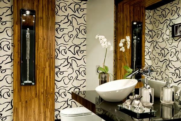 decoracao bancada lavabo : decoracao bancada lavabo:Não existe bancada sem espelho, ok?! Além de funcional, o espelho