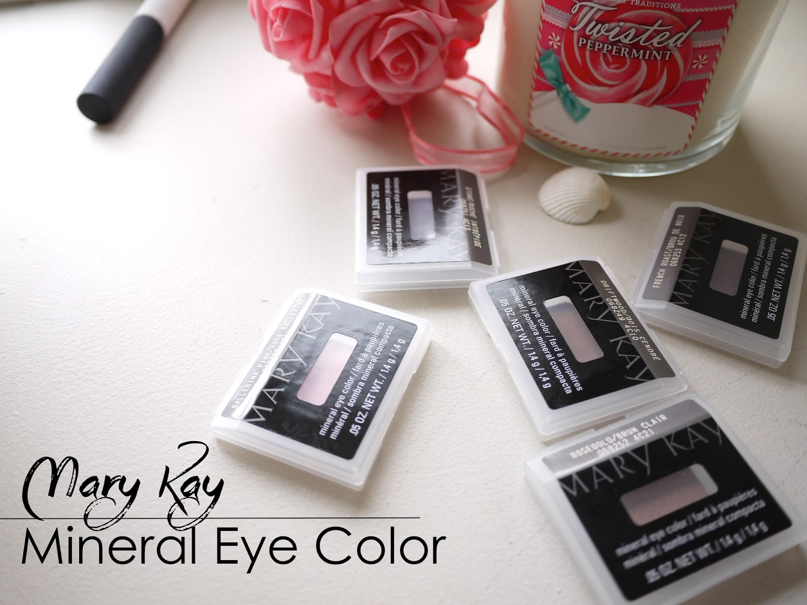Mary Kay Mineral Eye Color ballerina pink, stone, driftwood, french roast, rose gold swatch review