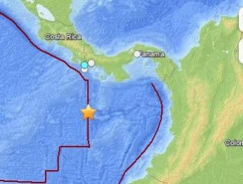 Epicentro sismo 5,4 grados, sur de Panamá, 14 de Junio 2013
