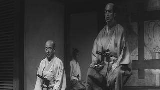 Iyi Clan Elder Saito listens to Hanshiro Tsugomo's tale, Harakiri, Tatsuya Nakadai, Directed by Masaki Kobayashi