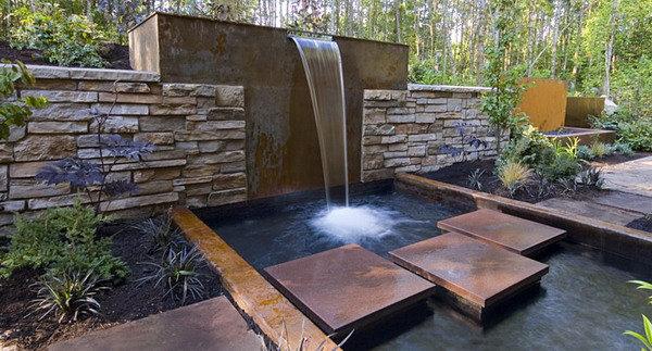 Home and garden contemporary water feature for Backyard water feature plans