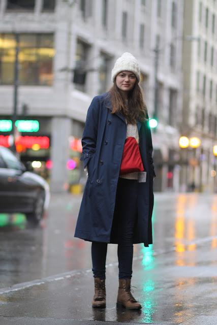 Heahter Hodge Navy Blue Trench Coat downtown seattle street style fashion wool beanie rain